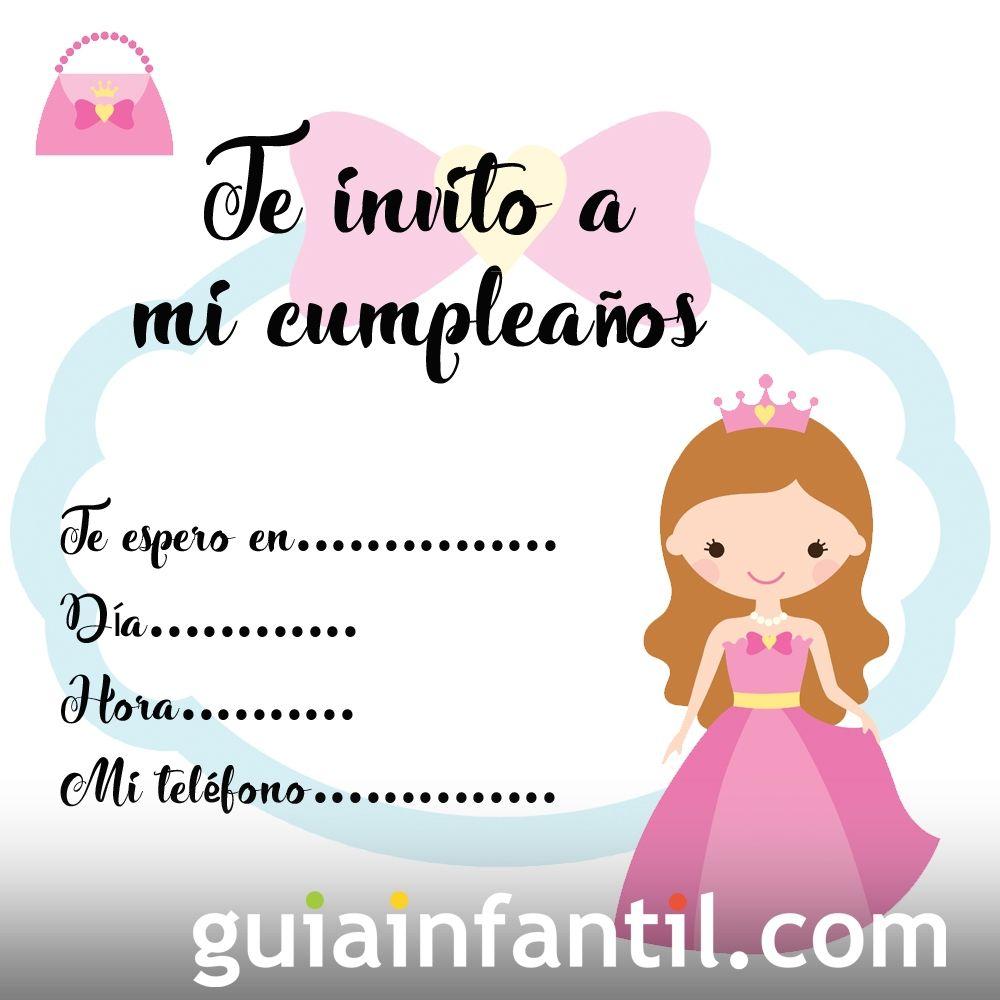 Invitación de cumpleaños con dibujos de princesas de fantasía