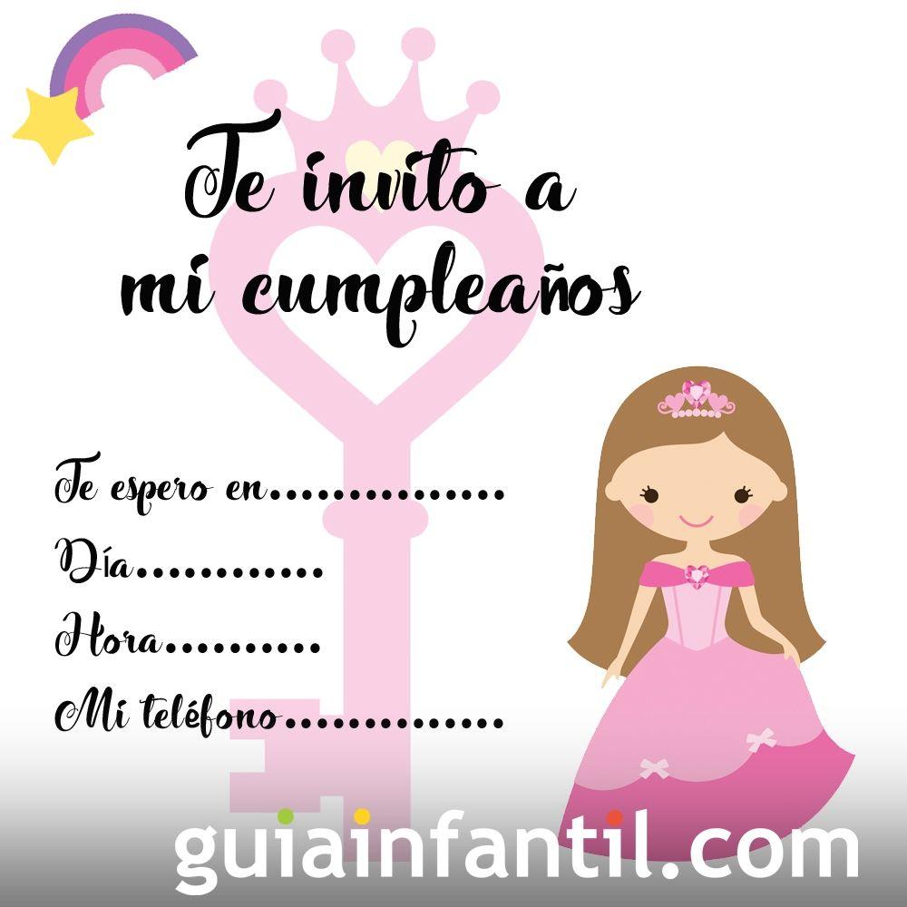 Invitaciones de cumpleaños con una princesa