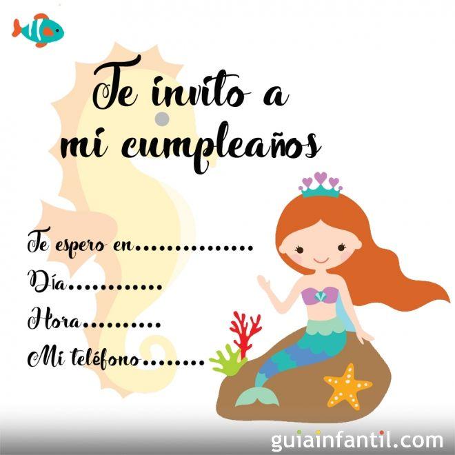 Invitaciones de cumpleaños con imágenes para imprimir de princesas