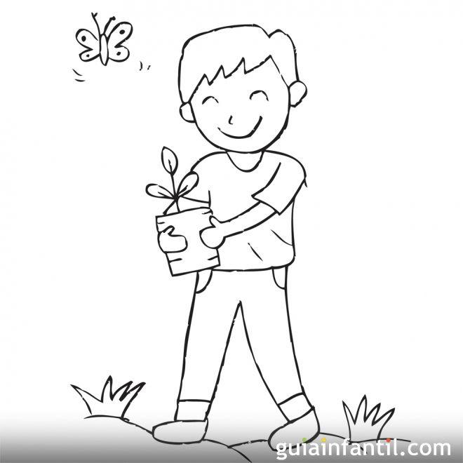 Imagen para pintar de un niño cuidando el medio ambiente
