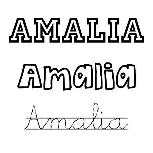 Nombre para niñas Amalia para colorear