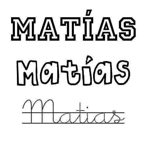 Dibujo del nombre Matías para imprimir