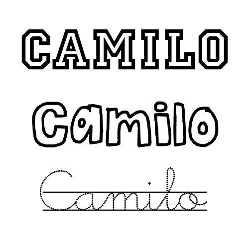 Dibujo del nombre Camilo para imprimir y pintar