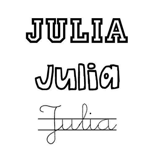 Dibujo del nombre Julia para colorear