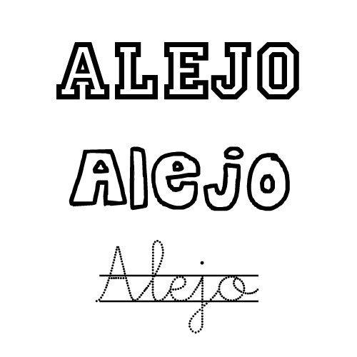Dibujo del nombre Alejo para pintar