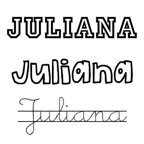 Dibujos para colorear del nombre para niñas Juliana