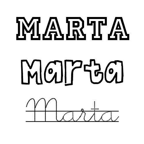 Dibujo del nombre para niñas Marta para imprimir