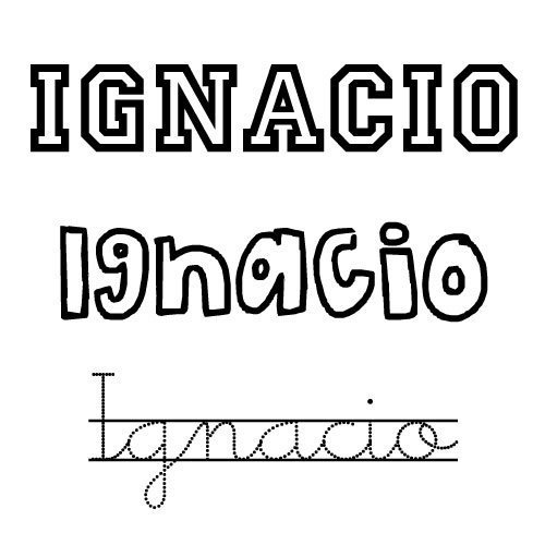 Nombre Ignacio para imprimir y colorear