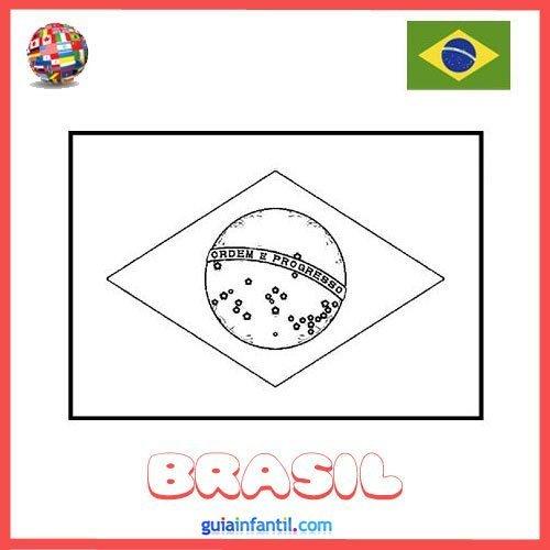 Dibujo de la bandera de Brasil para pintar  Dibujos de banderas