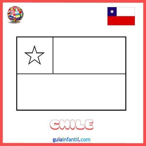 Bandera de Chile para imprimir y colorear
