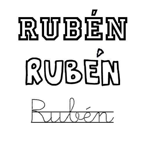 Dibujo del nombre Rubén para pintar con los niños