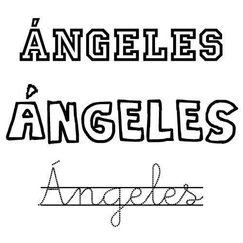 Dibujo del nombre Ángeles para colorear