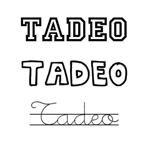 Dibujo del nombre Tadeo para colorear