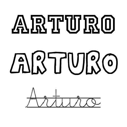 Dibujo del nombre Arturo para imprimir y colorear
