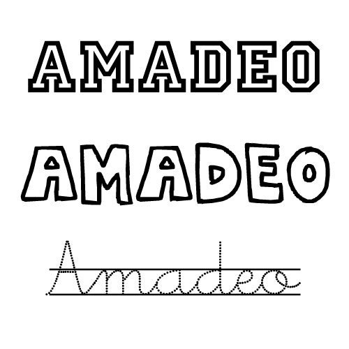 Dibujo del nombre Amadeo para pintar