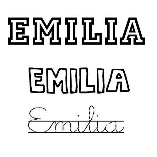 Dibujo del nombre Emilia para imprimir y colorear