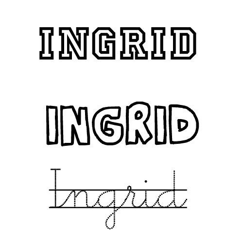 Dibujo del nombre Ingrid para colorear con los niños