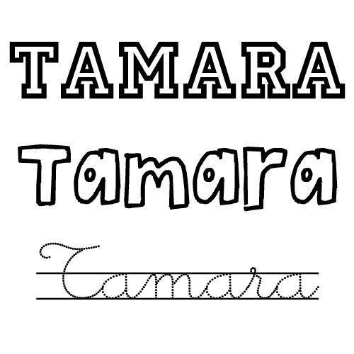 Dibujo del nombre Tamara para colorear