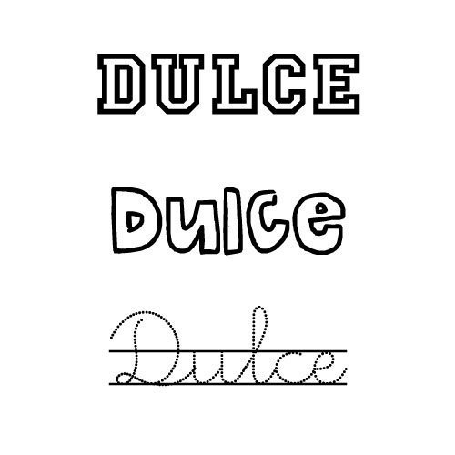 Dibujo para pintar del nombre Dulce