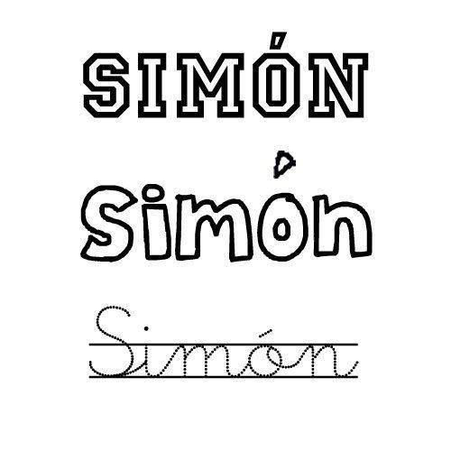 Dibujo del nombre Simón para pintar e imprimir