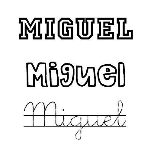 Dibujo del nombre para niños Miguel