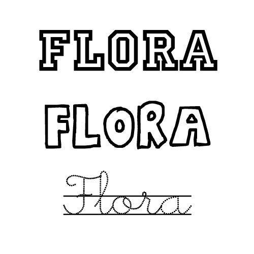 Dibujo del nombre Flora para imprimir y pintar