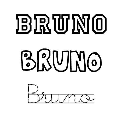 Dibujo del nombre Bruno para imprimir y pintar