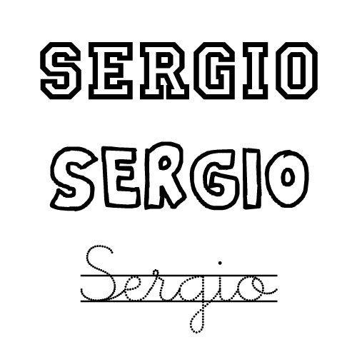 Dibujo para pintar e imprimir del nombre Sergio