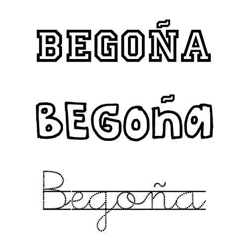 Dibujo para imprimir y pintar del nombre Begoña