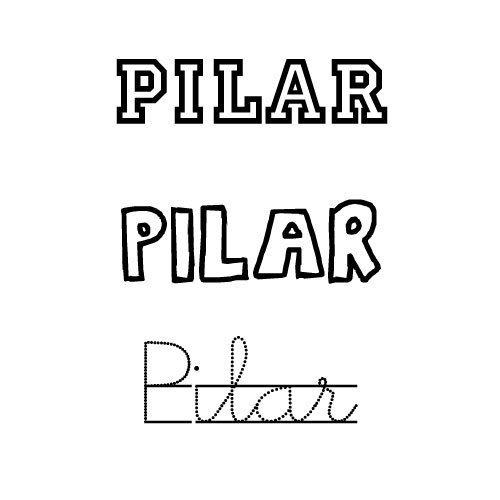 Dibujo para pintar e imprimir del nombre Pilar