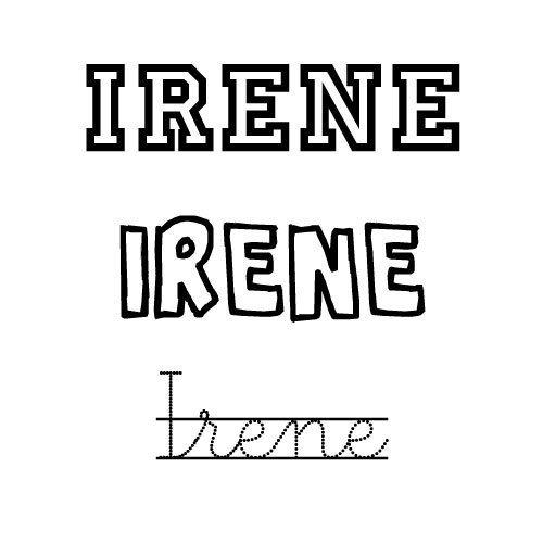 Dibujo para colorear del nombre Irene