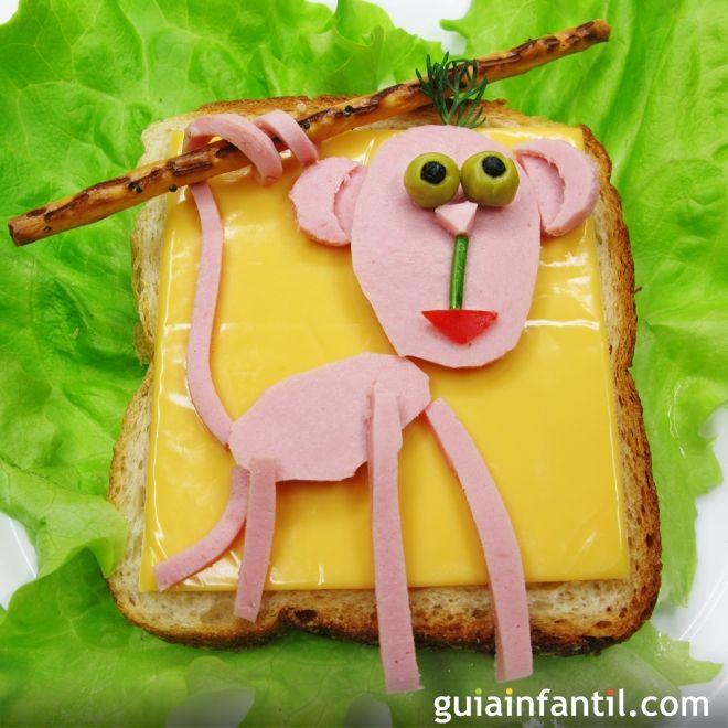 3- Sándwich de jamón y queso: mono