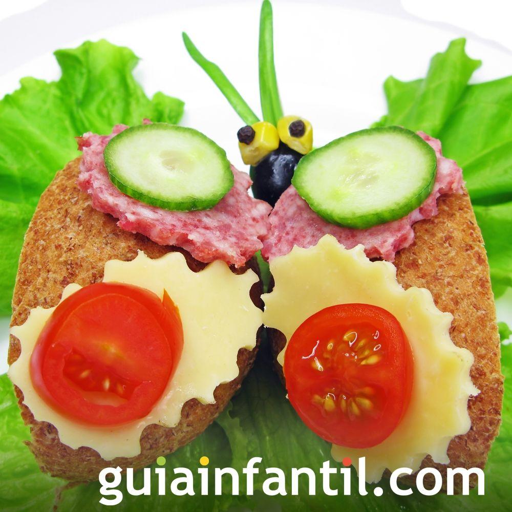 10- Sándwich de jamón y queso: mariposa