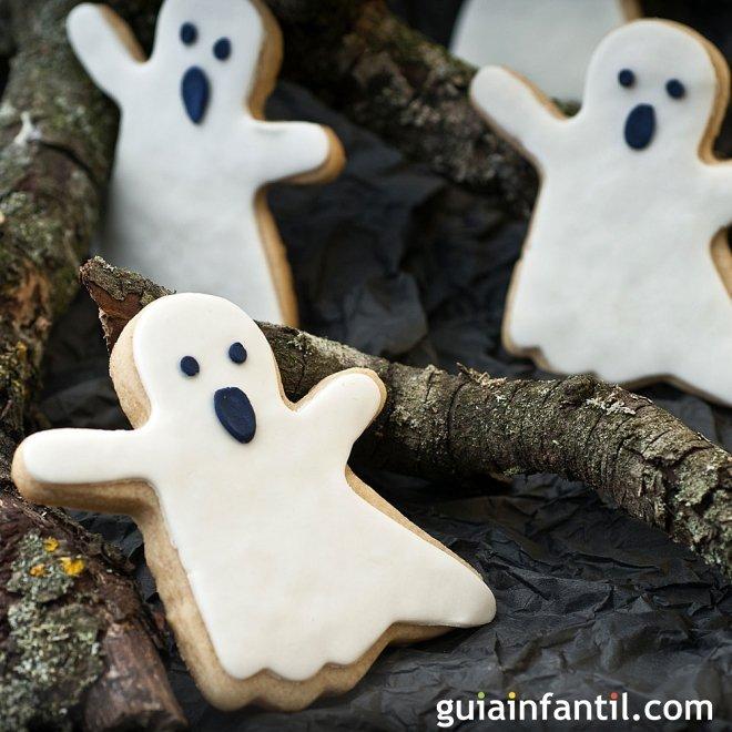 Galletas con forma de fantasma para Halloween