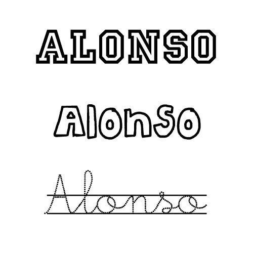 Dibujo para colorear del nombre Alonso