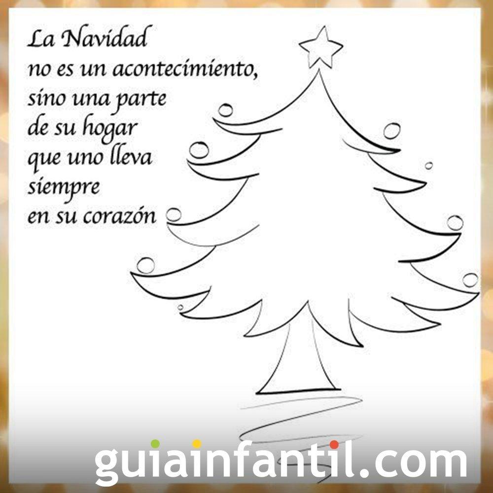 Dibujo de un árbol de Navidad con una frase navideña