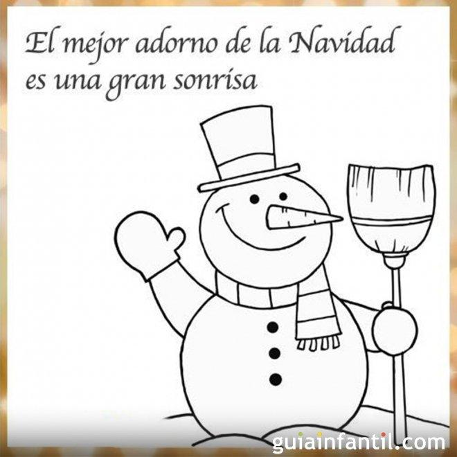 Dibujo de muñeco de nieve con una frase de Navidad para imprimir