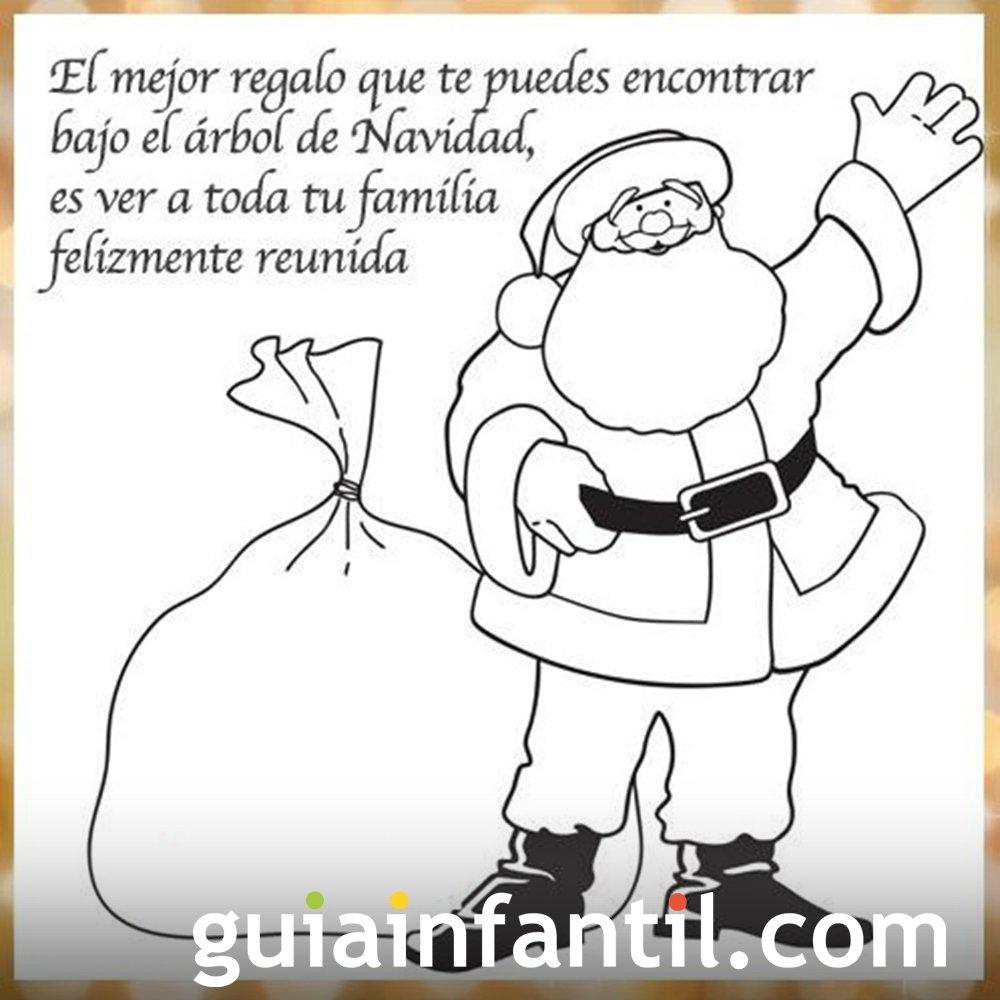 Papa Noel Para Colorear E Imprimir Con Frase De Navidad
