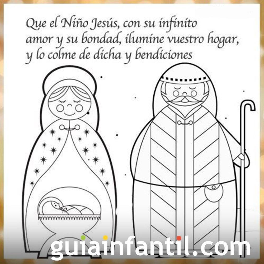 Dibujo del niño Jesús, la Virgen María y San José con frase de Navidad