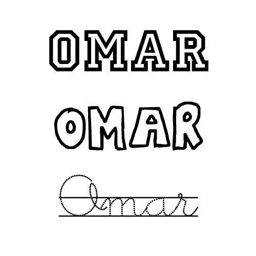 Dibujo para colorear del nombre Omar