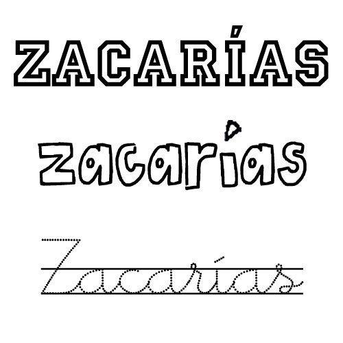 Dibujo para colorear del nombre Zacarías