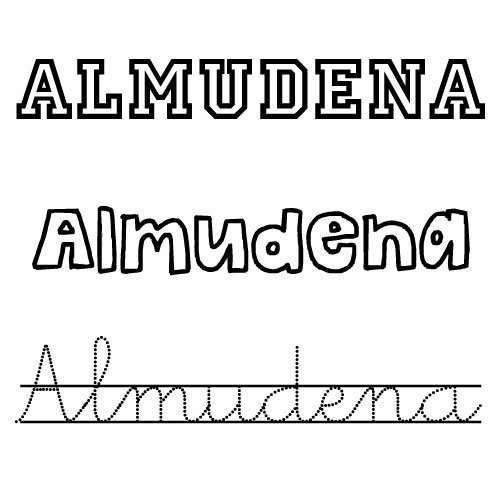 Dibujo para colorear del nombre Almudena