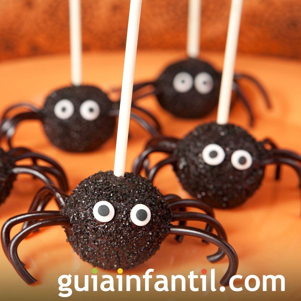 Cake pops con forma de araña para Halloween