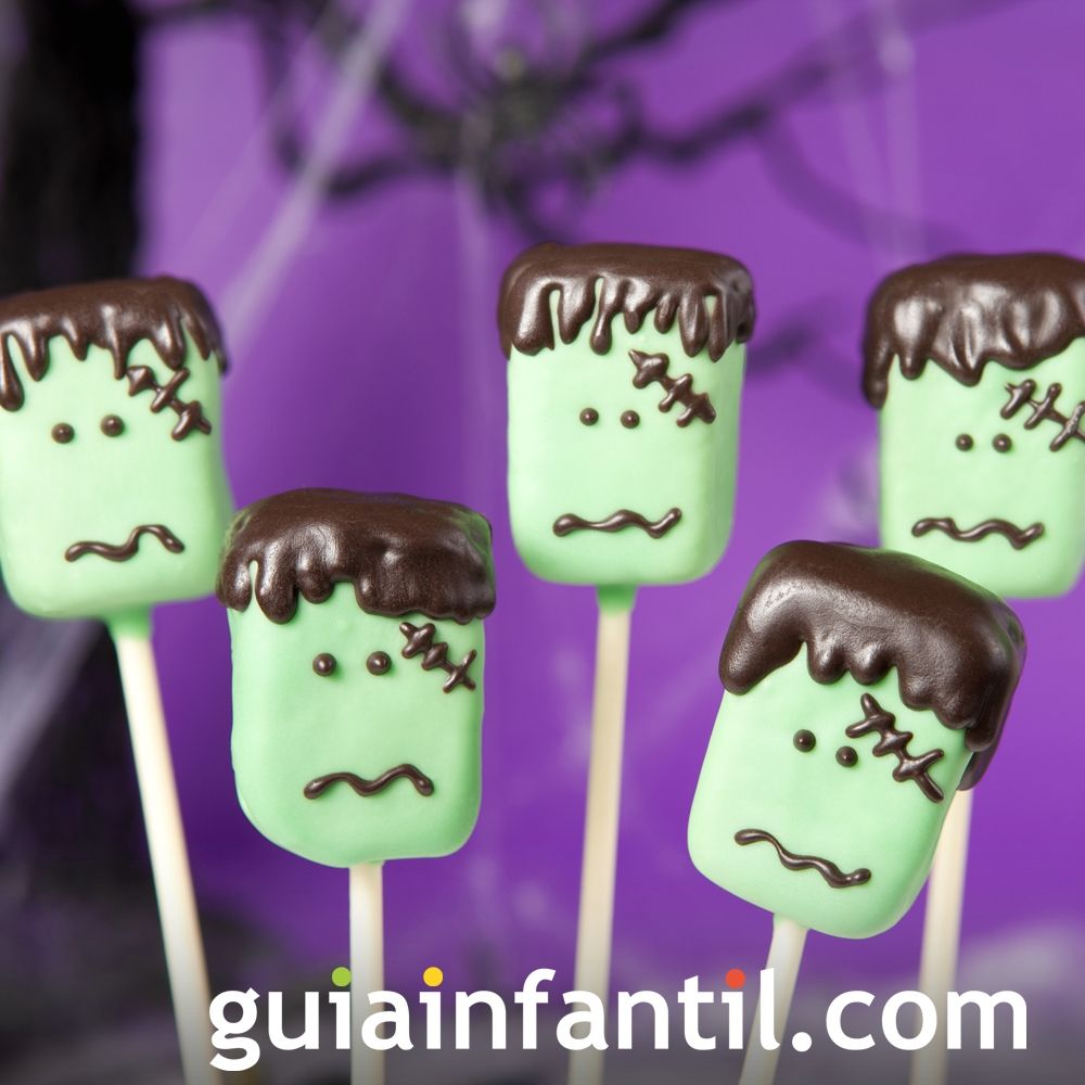 Cake pops con forma de Frankenstein para Halloween