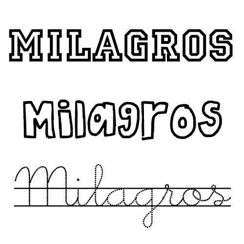 Dibujo para colorear del nombre Milagros