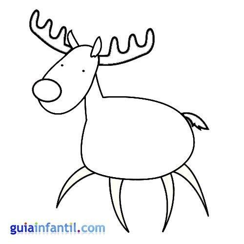 Dibujo de un dulce reno para pintar