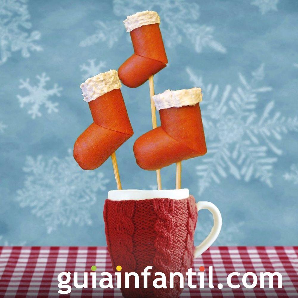 Canapé navideño con forma de bota de Santa Claus