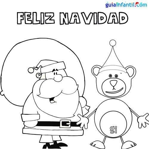 Dibujo para colorear de oso Traposo y Papá Noel