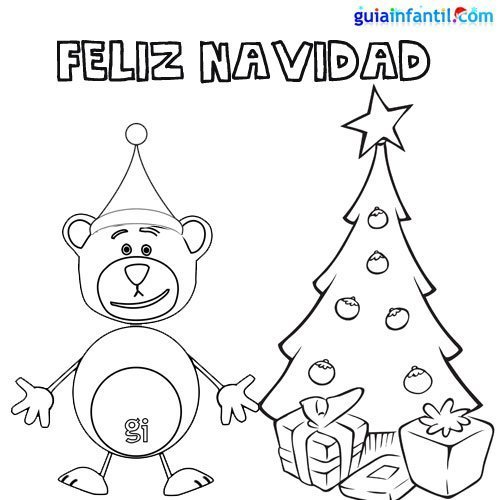 Dibujo para colorear del oso Traposo y el árbol de Navidad