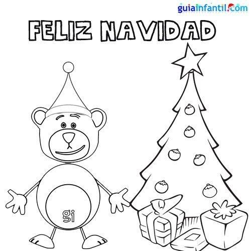 Imprimir dibujo para colorear del oso traposo y el rbol - Arbol de navidad para imprimir ...